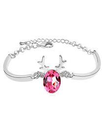 Lined Plum Red Angel Wing Shape Design Austrian Crystal Crystal Bracelets