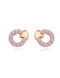 Caterpilla Pink Exquisite Heart Shape Zircon Crystal Earrings
