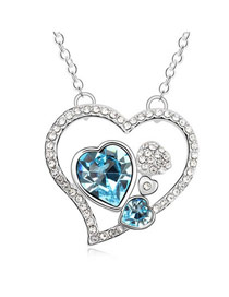 Scrapbooki Navy-Blue Elegant Heart Shape Pendant Austrian Crystal Crystal Necklaces