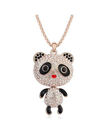 Quilted White Baby Panda Pendant Austrian Crystal Crystal Necklaces
