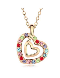 Cubic Multicolor Heart In Heart Design Austrian Crystal Crystal Necklaces