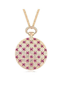 Fashion Rose Gold Round Shape Diamond Decorated Pure Color Multi-layer Necklace