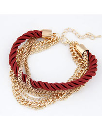 Cool Claret-Red Luxury Multilayer Weave