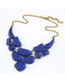 Christenin Blue Matching Luxury Jewel Design Alloy Korean Necklaces