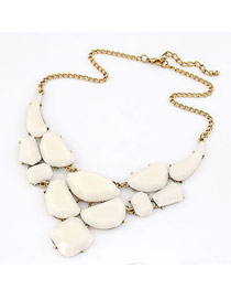 Initial White Matching Luxury Jewel Design Alloy Korean Necklaces