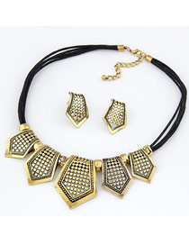 Exaggerated Gold Color Diamond Decorated Hollow Out Heart Shape Jewelry Sets (4pcs)