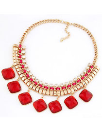 Lush Red Elegant Jewel Short Design Alloy Korean Necklaces