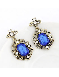Faddish Blue Simple Gemstone Design Alloy Stud Earrings