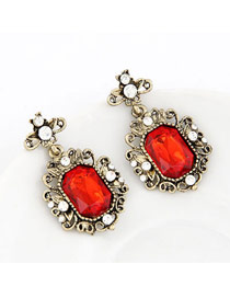 Magic Red Simple Gemstone Design Alloy Stud Earrings