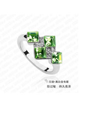 Chiropract Green Elegant Square Shape Alloy Crystal Rings