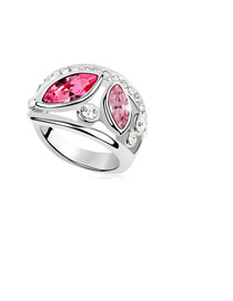 Concealed Plum Red Simple Double Gemstone Design Austrian Crystal Crystal Rings