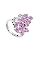 Fitness Pink Peacock Shape Design Austrian Crystal Crystal Rings