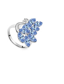 Locket Light Blue Peacock Shape Design Austrian Crystal Crystal Rings