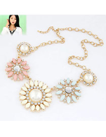 Fashion Gold Color Diamond Decorated Flower Shape Pure Color Necklace