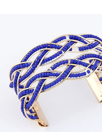 Attractive Dark Blue Bohemia Beads Style Alloy Fashion Bangles