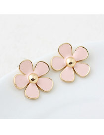 Plated Pink Sweety Flower Design Alloy Stud Earrings