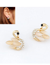 Chiropract Light Yellow Sweety Swan Shape Alloy Stud Earrings