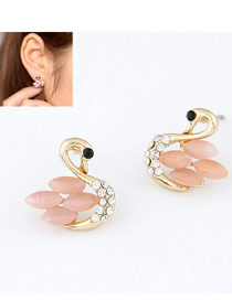 Piercing Pink Sweety Swan Shape Alloy Stud Earrings
