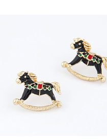 Headrest Black Litter Horse Design Alloy Stud Earrings