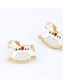 Limited White Litter Horse Design Alloy Stud Earrings