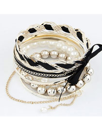 Sparking Black Bowknot Pearl Multilayer Alloy Fashion Bangles