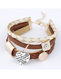 Imitation Gold Color Heart Multilayer