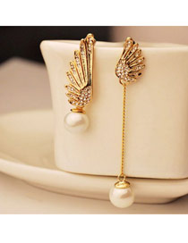 Short Yellow Shinning Gemstone Decorated Leaves Temperament Alloy Stud Earrings