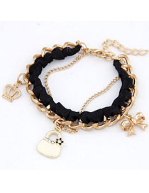 Bulk Black Crown Bow Bag Design Alloy Fashion Anklets