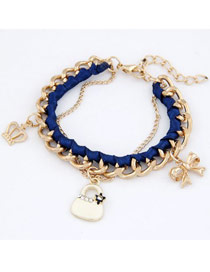 Heavy Dark Blue Crown Bow Bag Design Alloy Fashion Anklets