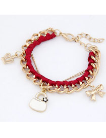 Fake Red Crown Bow Bag Design Alloy Fashion Anklets