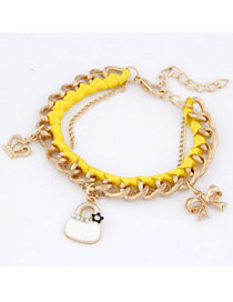 Wedding Yellow Crown Bow Bag Design Alloy Fashion Anklets