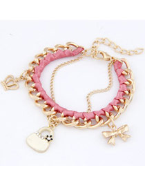 Monogram Pink Crown Bow Bag Design Alloy Fashion Anklets