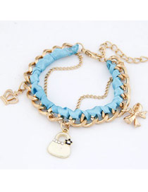 Varsity Sky Blue Crown Bow Bag Design Alloy Fashion Anklets
