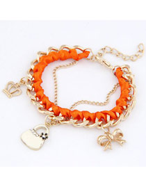 Afrocentri Orange Crown Bow Bag Design Alloy Fashion Anklets