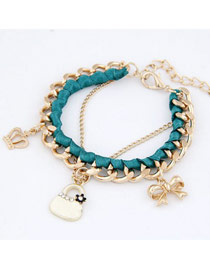 Wholesale Dark Green Crown Bow Bag Design Alloy Fashion Anklets