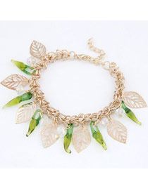 Moving Green Sweety Pepper Design Alloy Fashion Anklets
