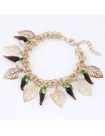 Nameplate Purple Sweety Pepper Design Alloy Fashion Anklets