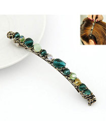 Reversible Green Handmade Crystal Design Alloy Hair clip hair claw
