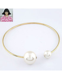 Fashion Silver Color Diamond Decorated Pure Color Simple Choker