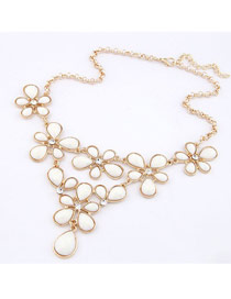 Urban White Flowers Design Alloy Korean Necklaces