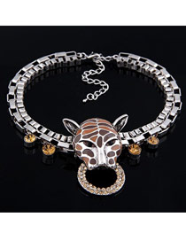 Profession Brown Punk Leopard Head Alloy Fashion Necklaces