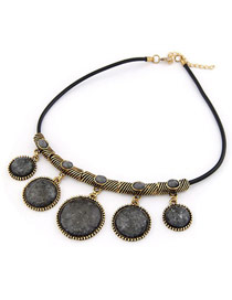 Greek Black Short Round Pendant Design Alloy Korean Necklaces
