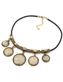Extreme Beige Short Round Pendant Design Alloy Korean Necklaces