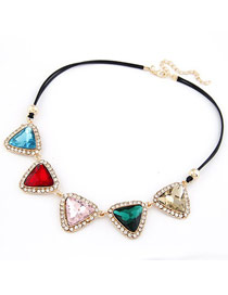 Engravable Multicolor Triangle Gemstone Matching Design Alloy Korean Necklaces