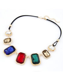 Floating Multicolor Square Gemstone Matching Design Alloy Korean Necklaces