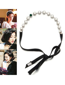 Current Black Pearl Decorated Leather Hair band hair hoop