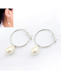 Faux Silver Pearl Decorated Alloy Korean Earrings
