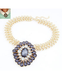 Stretch Gun Black Gemstone Drop Shape Design Alloy Bib Necklaces