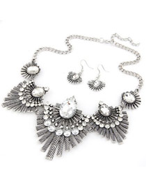 Exaggerated Silver Color+plum Red Waterdrop Tassel Pendant Decorated Geometric Shape Jewelry Sets