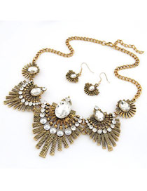 Vintage Gold Color Metal Chain Matching Decorated Hollow Out Jewelry Sets